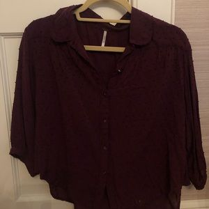 Free people Merlot colored blouse